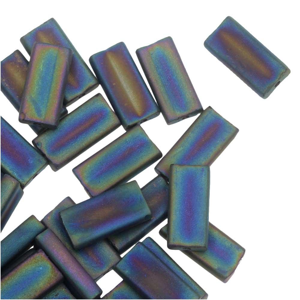 Miyuki Glass Beads, Rectangle 4x9mm, 10 Grams, Matte Black AB