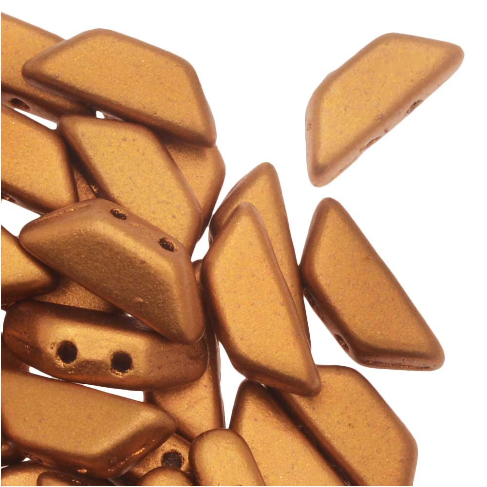 Czech Glass Tinos par Puca, 2-Hole Trapezoid Beads 4x10mm, 10 Grams, Matte Bronze Gold