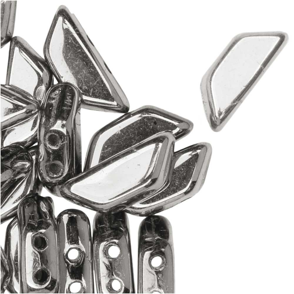 Czech Glass Tinos par Puca, 2-Hole Trapezoid Beads 4x10mm, 10 Grams, Argentees Silver