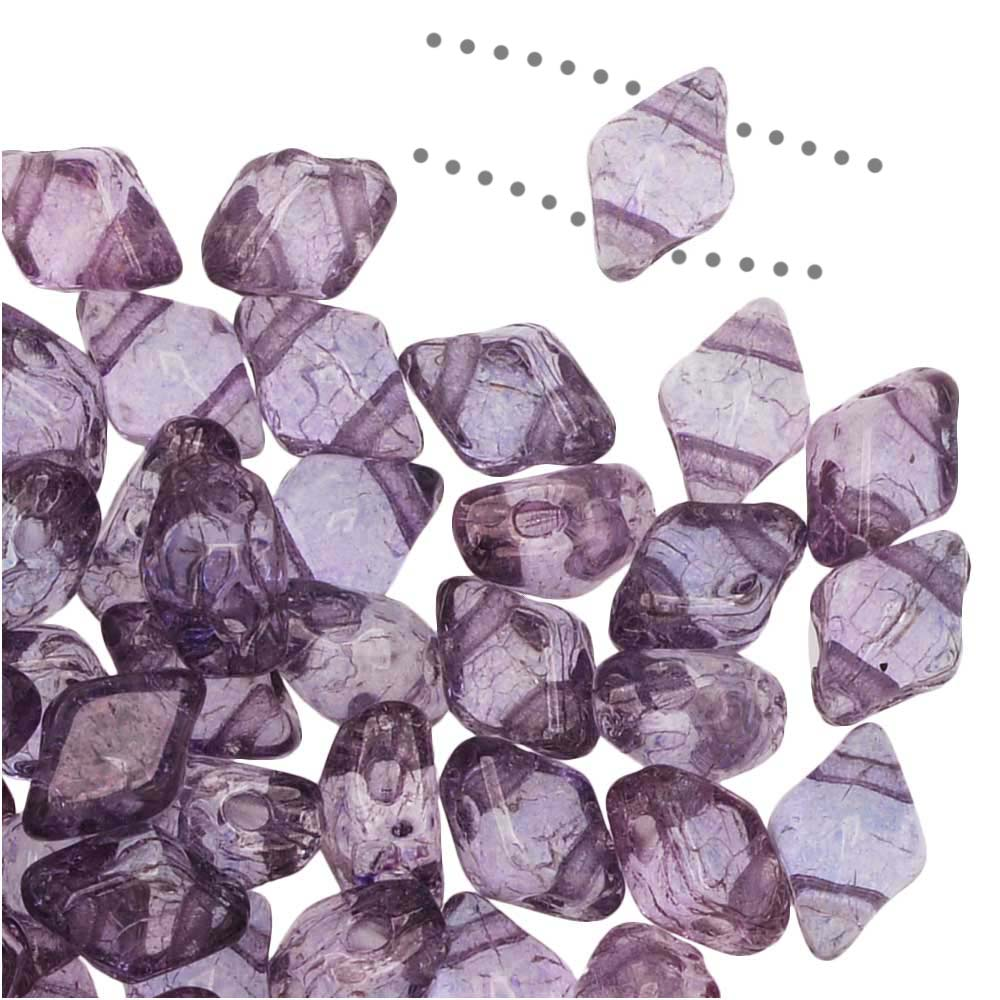 Czech Glass DiamonDuo Mini, 2-Hole Diamond Shaped Beads 4x6mm, 8 Grams, Lumi Amethyst
