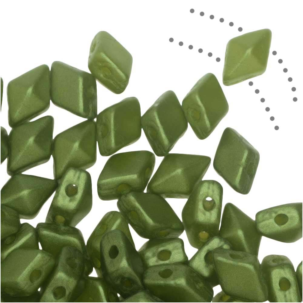 Czech Glass DiamonDuo Mini, 2-Hole Diamond Shaped Beads 4x6mm, 8 Grams, Pastel Olivine