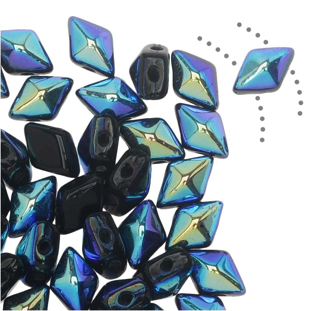 Czech Glass DiamonDuo Mini, 2-Hole Diamond Shaped Beads 4x6mm, 8 Grams, Jet AB