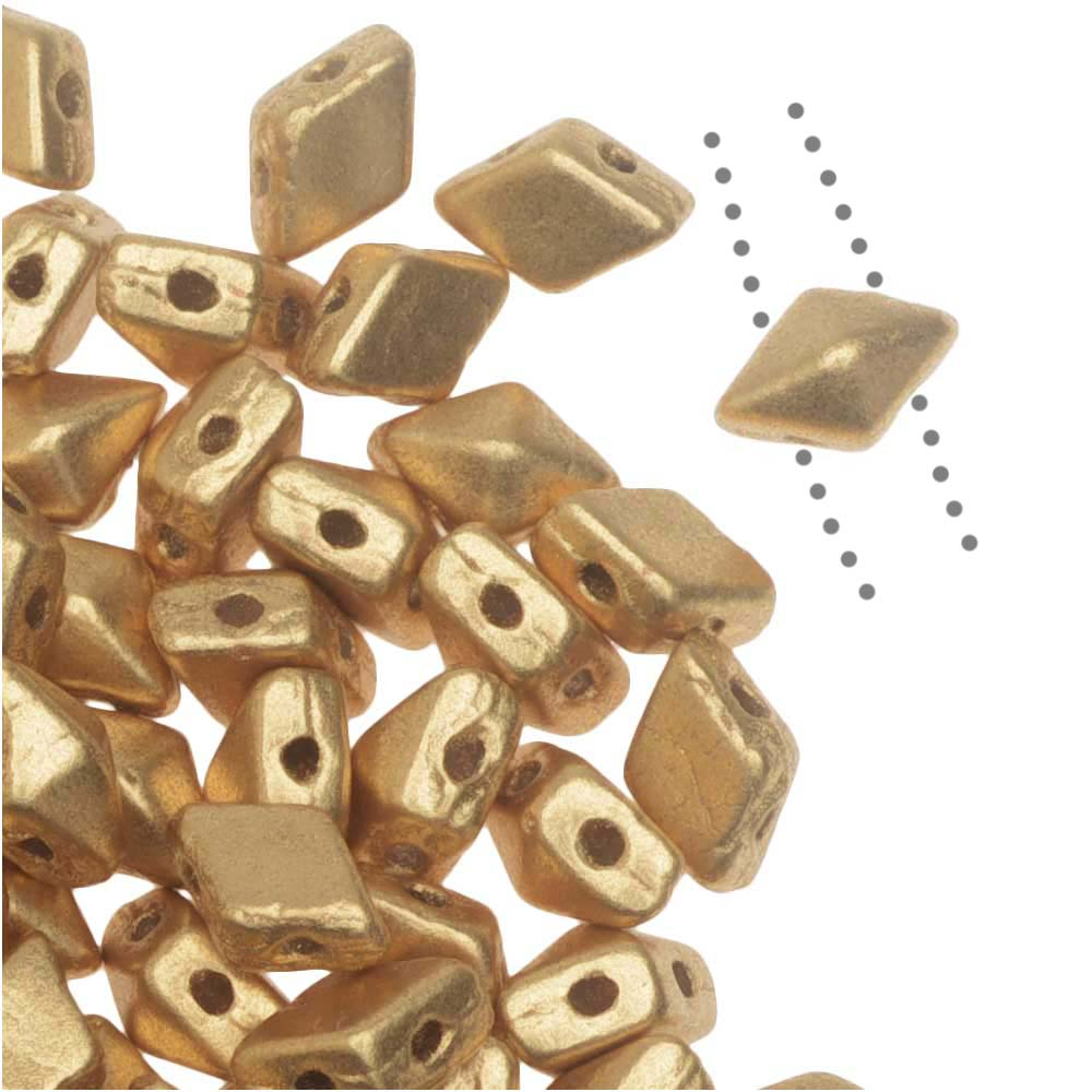 Czech Glass DiamonDuo Mini, 2-Hole Diamond Shaped Beads 4x6mm, 8 Grams, Matte Gold