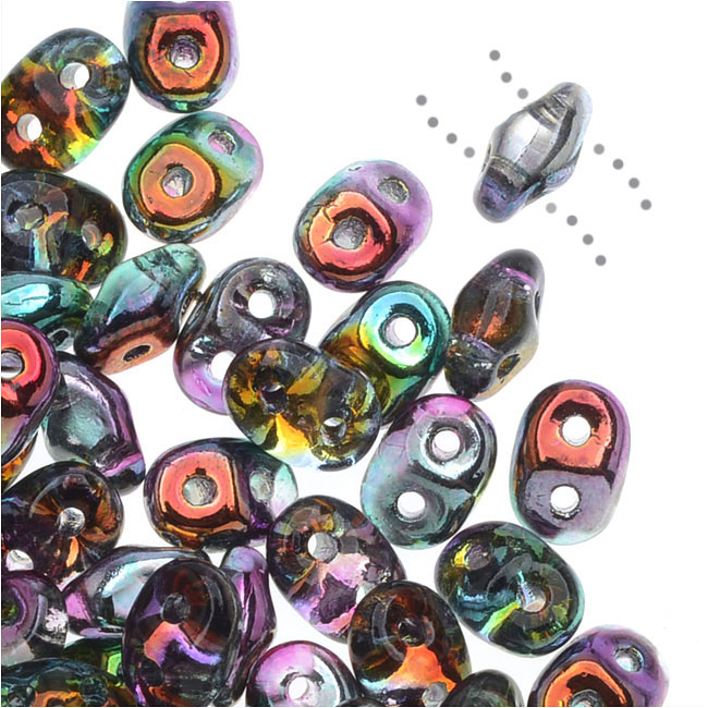 SuperDuo 2-Hole Czech Glass Beads, Marea Peacock Coated/Gold, 2x5mm, 8g Tube