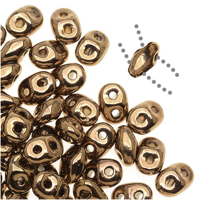 SuperDuo 2-Hole Czech Glass Beads, Bronze, 2x5mm, 8g Tube