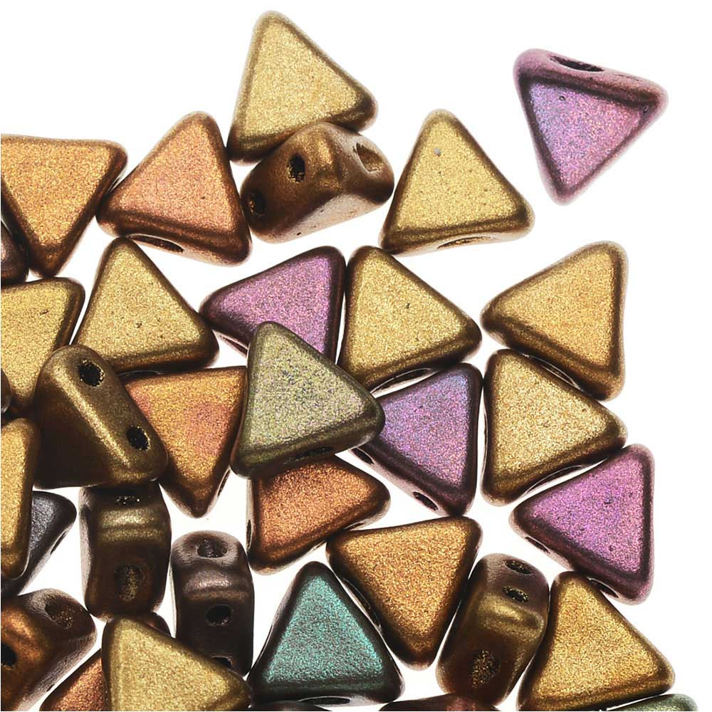 Czech Glass Kheops par Puca, 2-Hole Triangle Beads 6mm, 9 Grams, Yellow Gold Metallic Iris