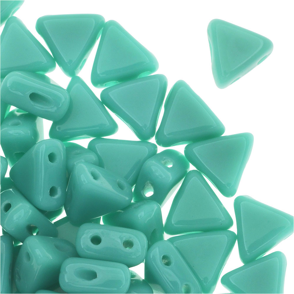 Czech Glass Kheops par Puca, 2-Hole Triangle Beads 6mm, 9 Grams, Opaque Green Turquoise