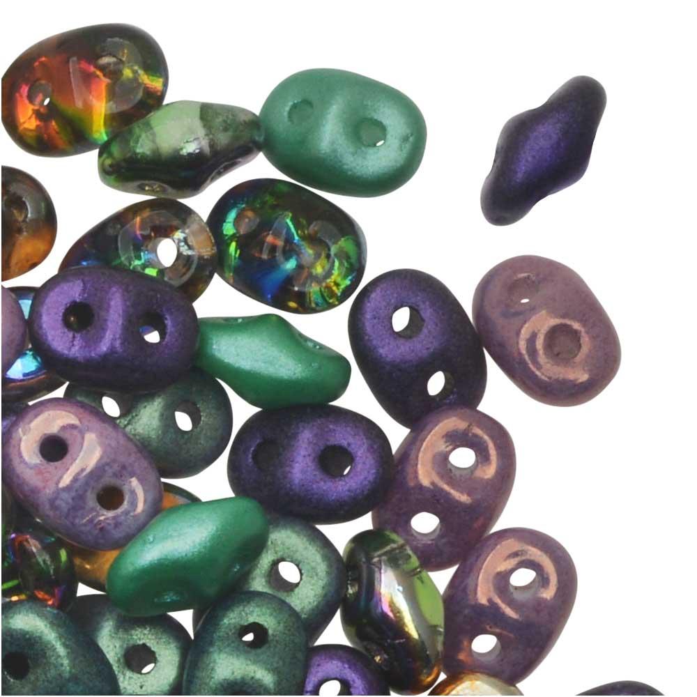 SuperDuo 2-Hole Czech Glass Beads, Madri Gras Plush Mix, 2x5mm, 24g Tube