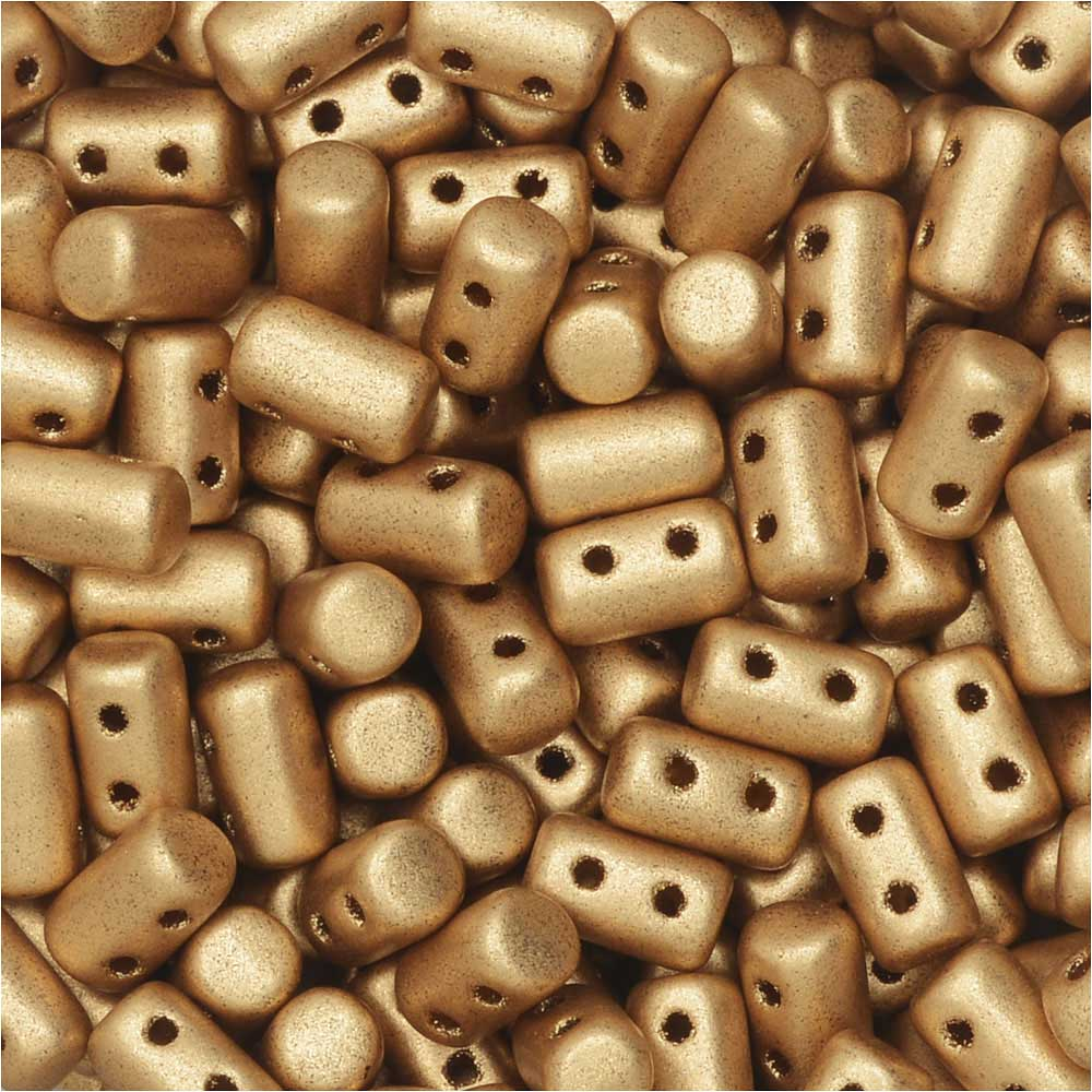 Czech Glass Matubo, Cylindrical 2-Hole Rulla Beads 3x5mm, 22 Gram Tube, Crystal Bronze Pale Gold