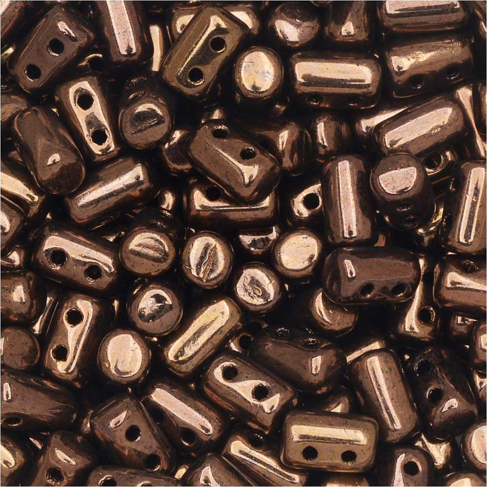 Czech Glass Matubo, Cylindrical 2-Hole Rulla Beads 3x5mm, 22 Gram Tube, Jet Bronze Luster
