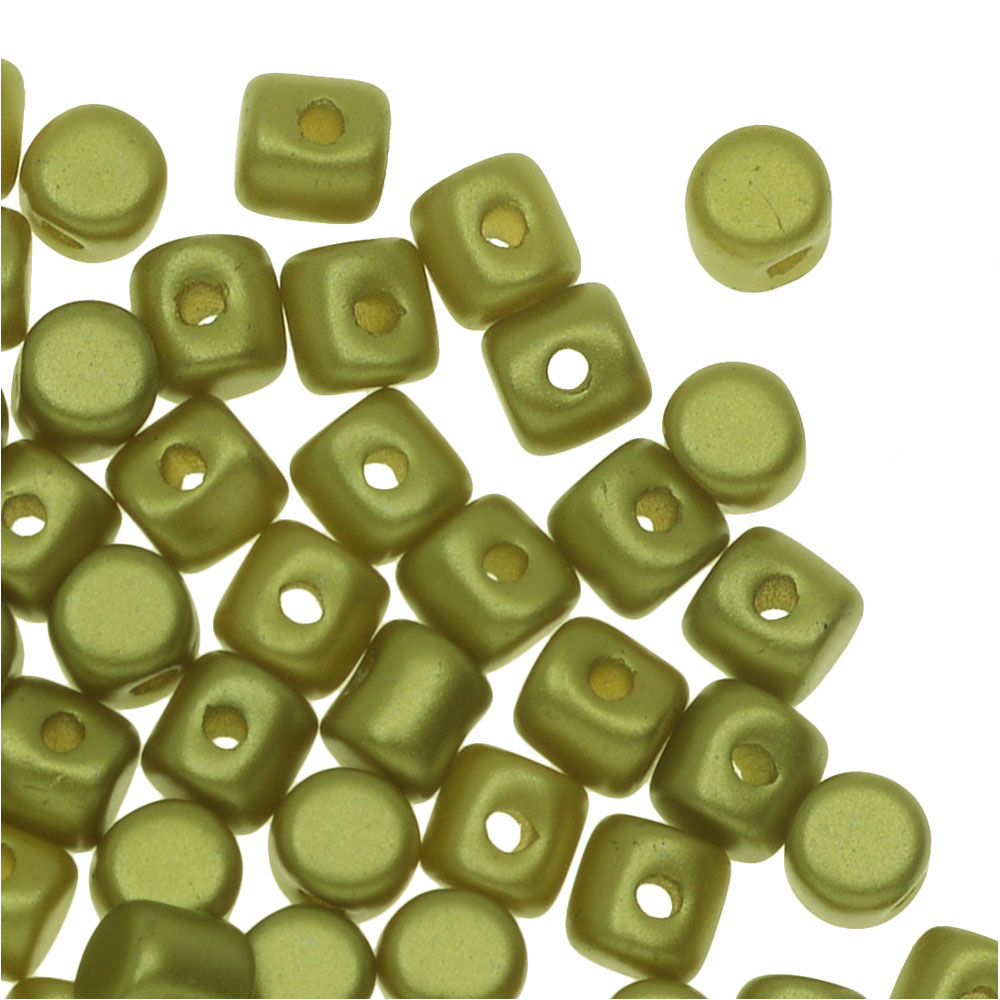 Czech Glass Minos par Puca, Cylindrical Beads 2.5x3mm, 120 Pieces, Pastel Lime Green