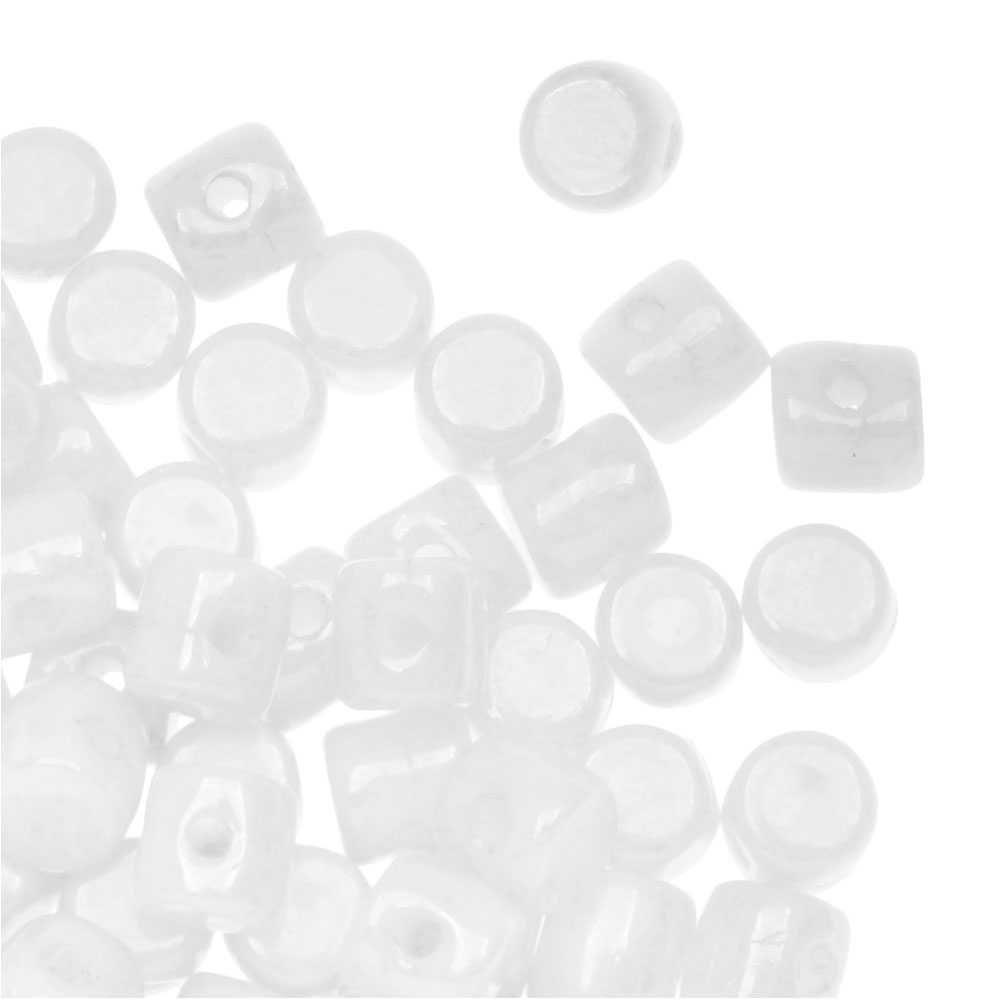 Czech Glass Minos par Puca, Cylindrical Beads 2.5x3mm, 120 Pieces, Opaque White Luster
