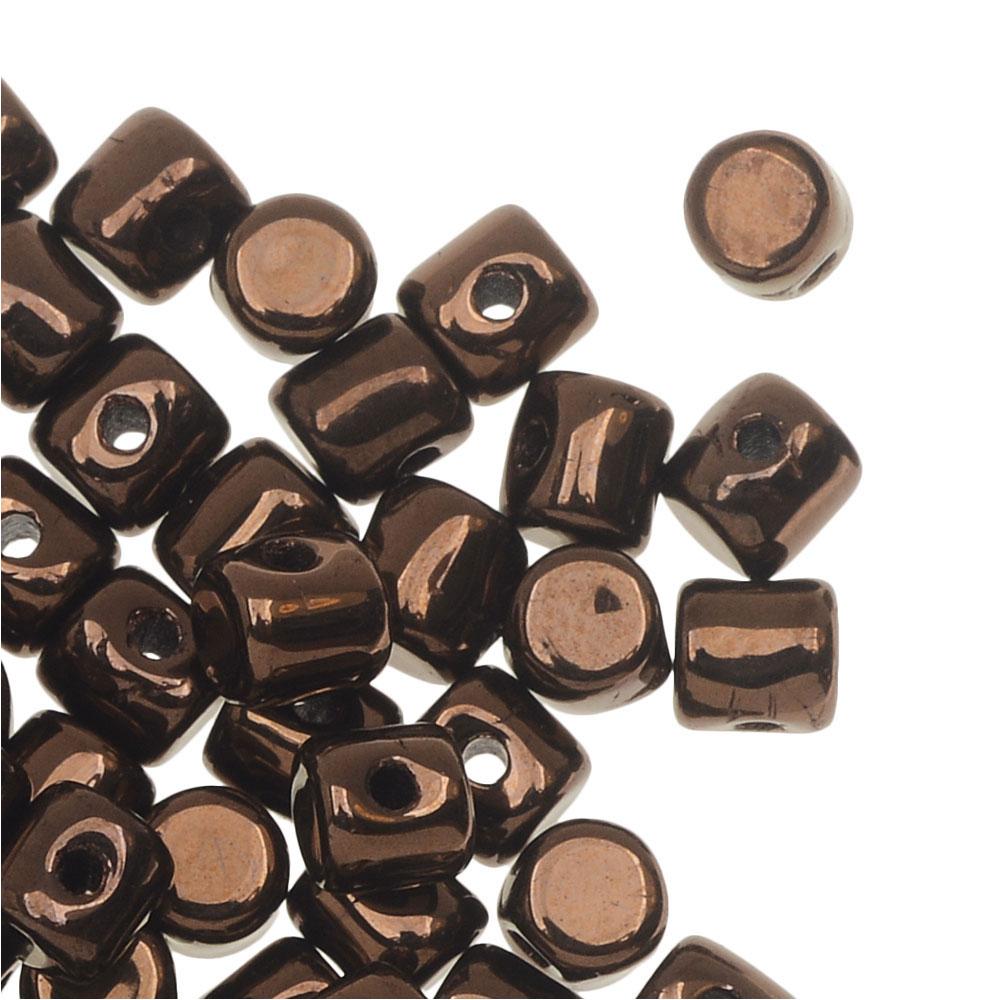 Czech Glass Minos par Puca, Cylindrical Beads 2.5x3mm, 120 Pieces, Dark Bronze