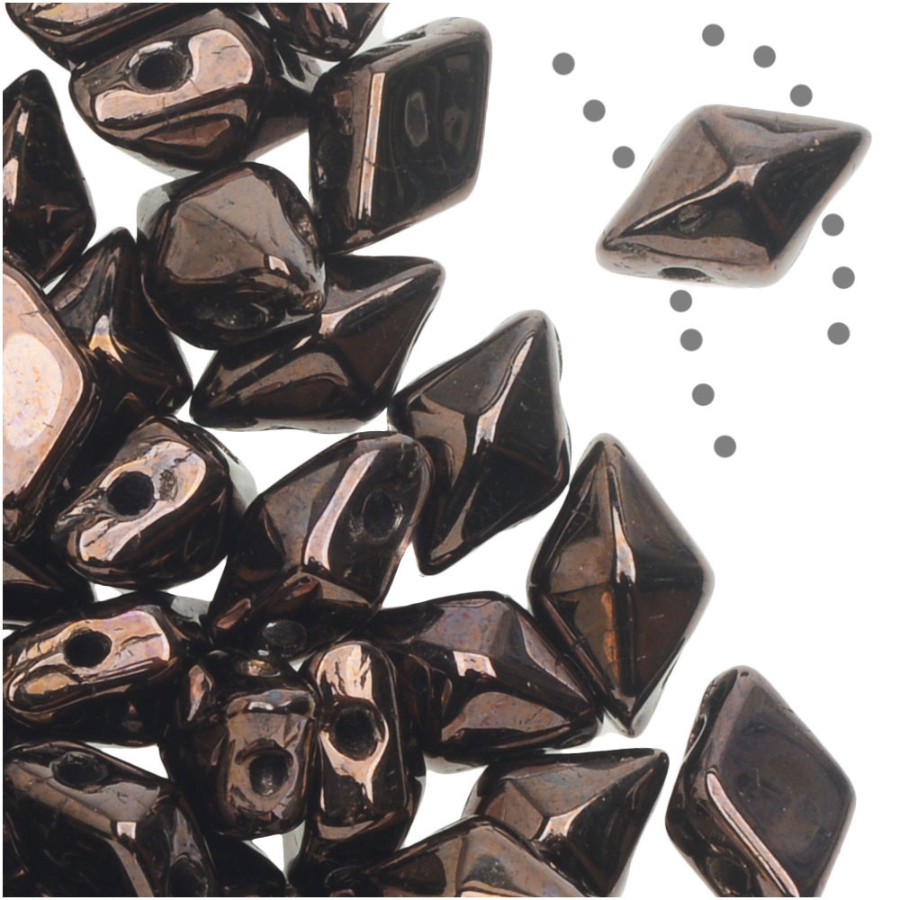 Czech Glass DiamonDuo, 2-Hole Diamond Shaped Beads 5x8mm, 12 Grams, Dark Bronze