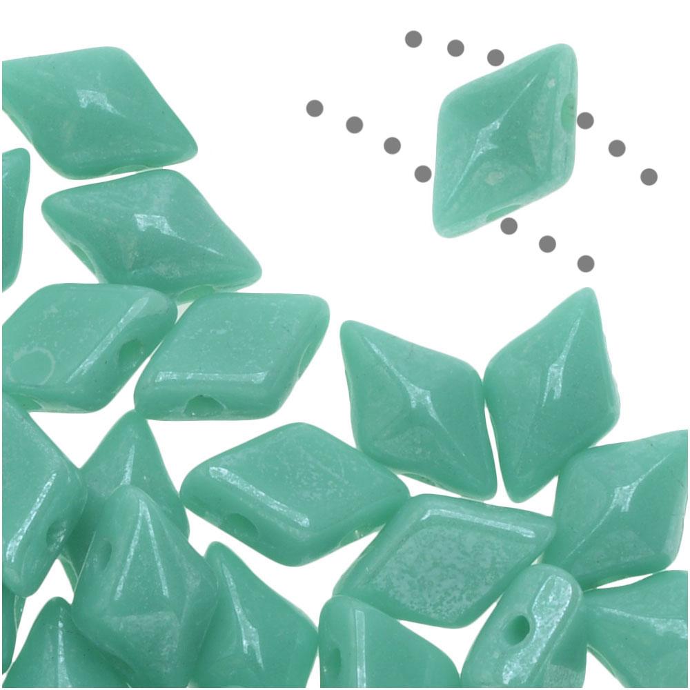 Czech Glass DiamonDuo, 2-Hole Diamond Shaped Beads 5x8mm, 12 Grams, Turquoise Shimmer