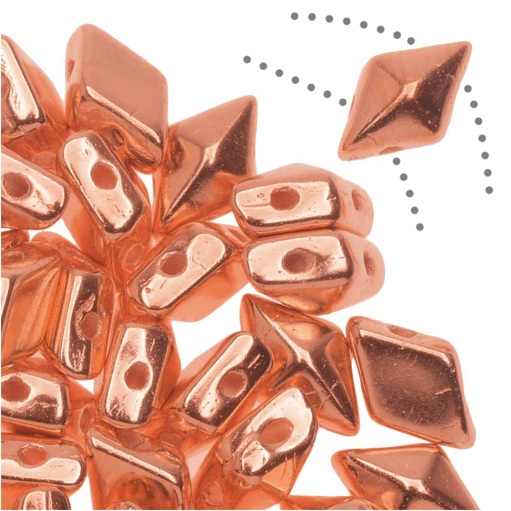 Czech Glass DiamonDuo, 2-Hole Diamond Shaped Beads 5x8mm, 12 Grams, Real Copper Fully Coated