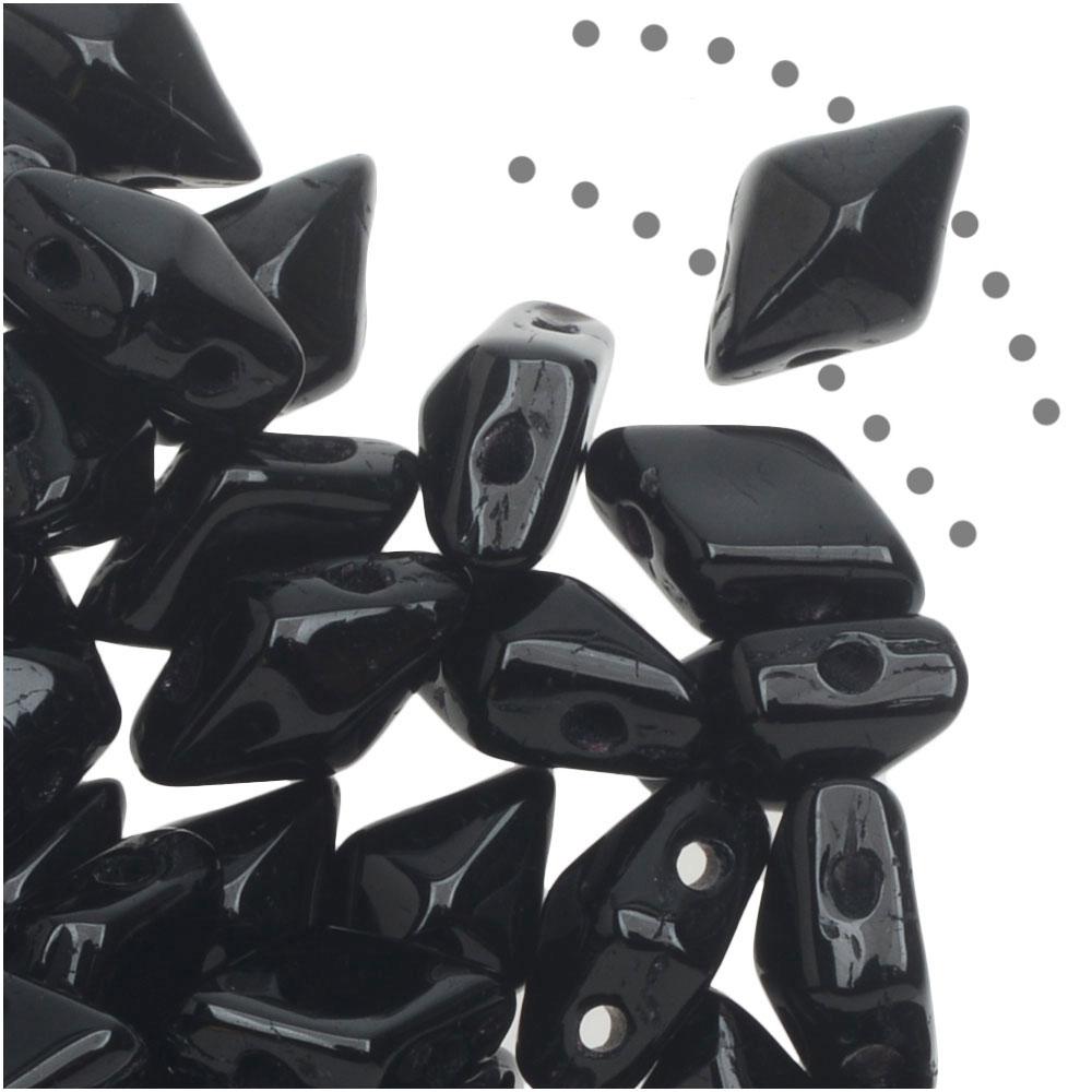 Czech Glass DiamonDuo, 2-Hole Diamond Shaped Beads 5x8mm, 12 Grams, Jet