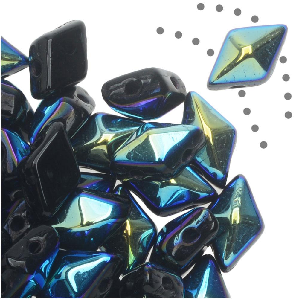 Czech Glass DiamonDuo, 2-Hole Diamond Shaped Beads 5x8mm, 12 Grams, Jet AB
