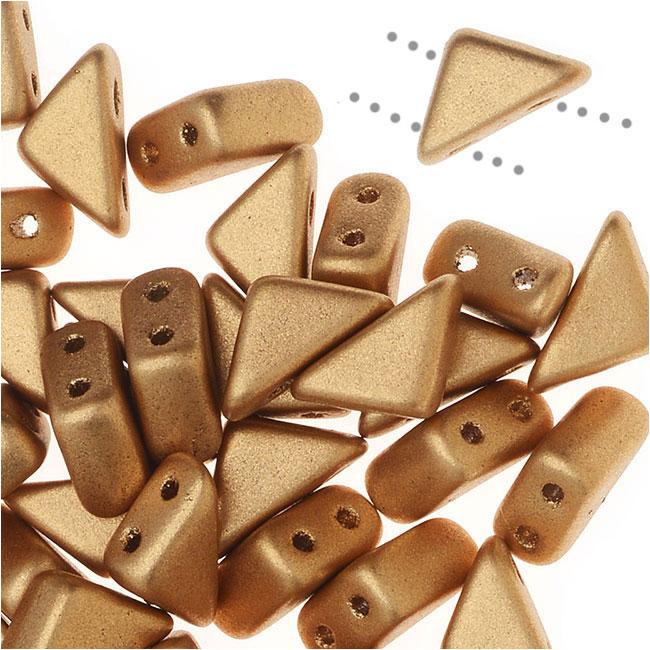 Czech Glass Tango Beads, 2-Hole Triangle 4x8mm,  1 Tube, Matte Gold