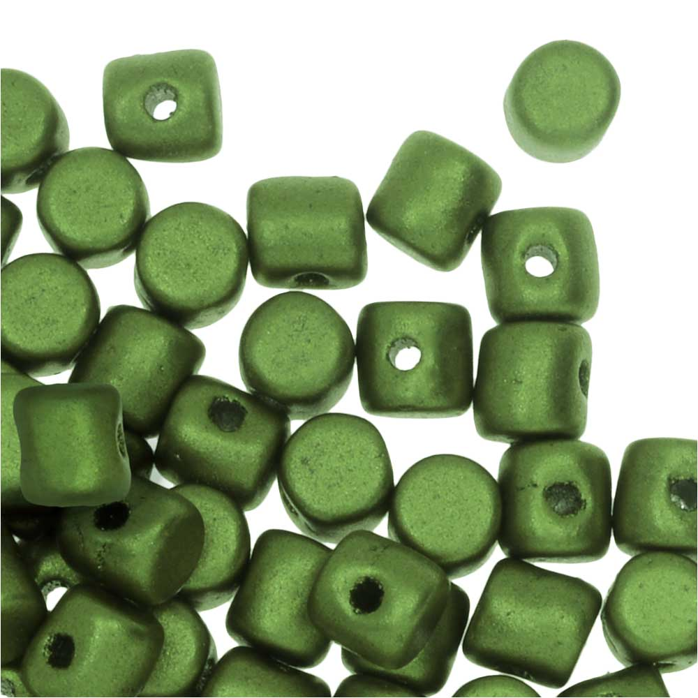 Czech Glass Minos par Puca, Cylindrical Beads 2.5x3mm, 120 Pieces, Pastel Olivine