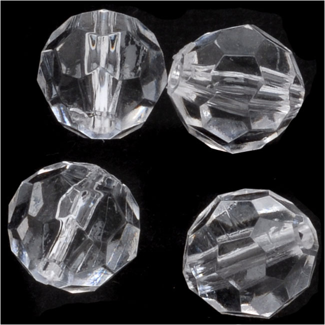 Final Sale - Vintage Lucite Plastic Round Faceted Beads 9.5mm Crystal (25)