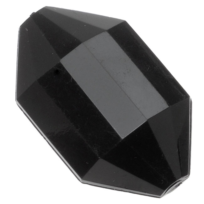 Final Sale - Vintage Lucite Plastic Faceted Diamond Shaped Pendant Beads Jet 25x42mm (4)