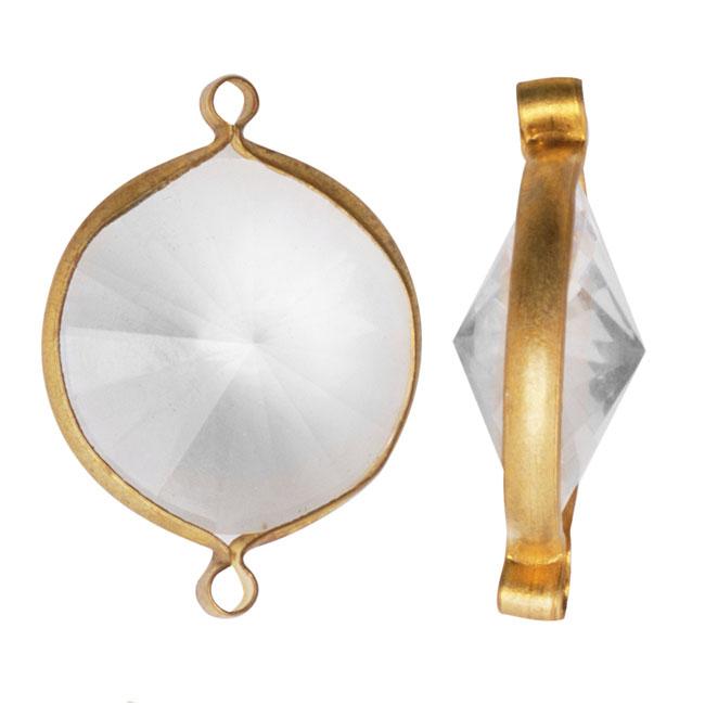 Final Sale - Vintage Lucite Antiqued Gold Toned Rivoli Pendant Link Crystal 22mm (6)