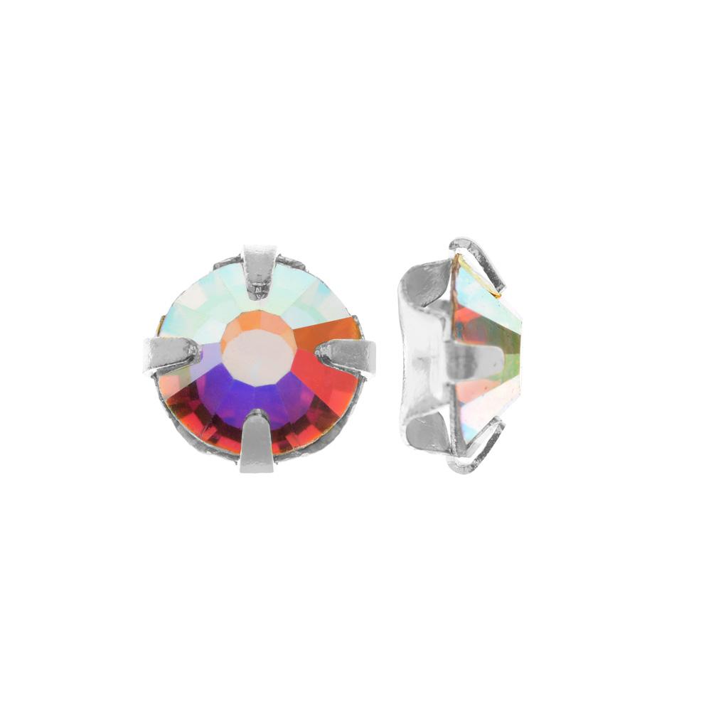 Preciosa Rose Montee Beads, Czech Rhinestones SS16, 24 Pc, Crystal AB on Silver Plating