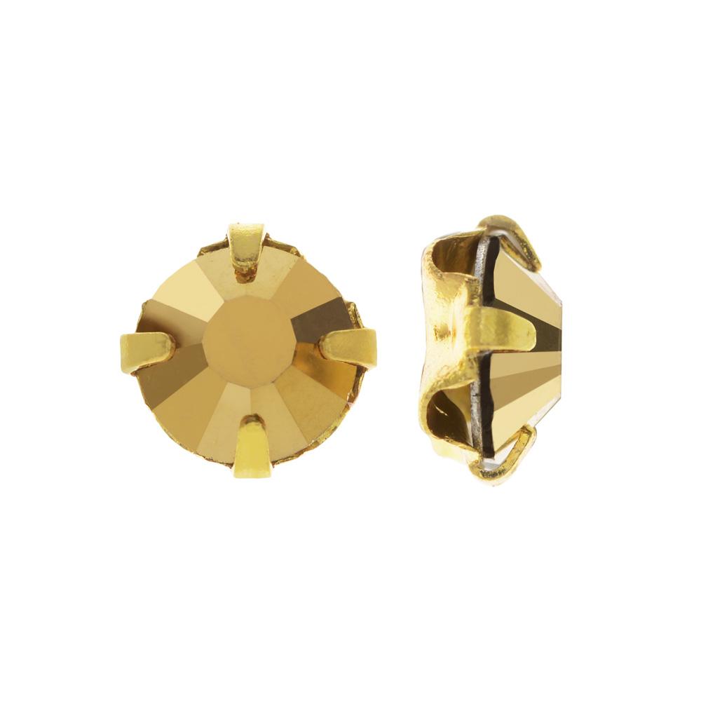 Final Sale - Preciosa Rose Montee Beads, Czech Rhinestones SS16, 24 Pc, Crystal Aurum on Gold Plating