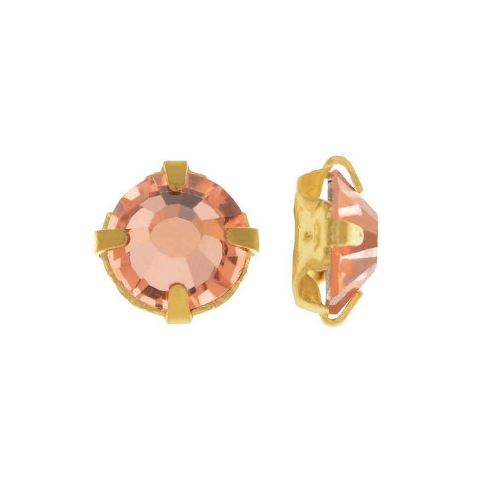 Preciosa Rose Montee Beads, Czech Rhinestones SS16, 24 Pc, Crystal Apricot on Gold Plating