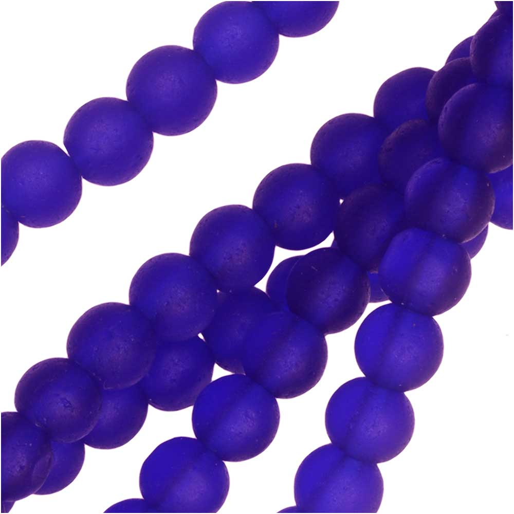 Cultured Sea Glass, Round Beads 4mm, 45 Pieces, Royal Blue