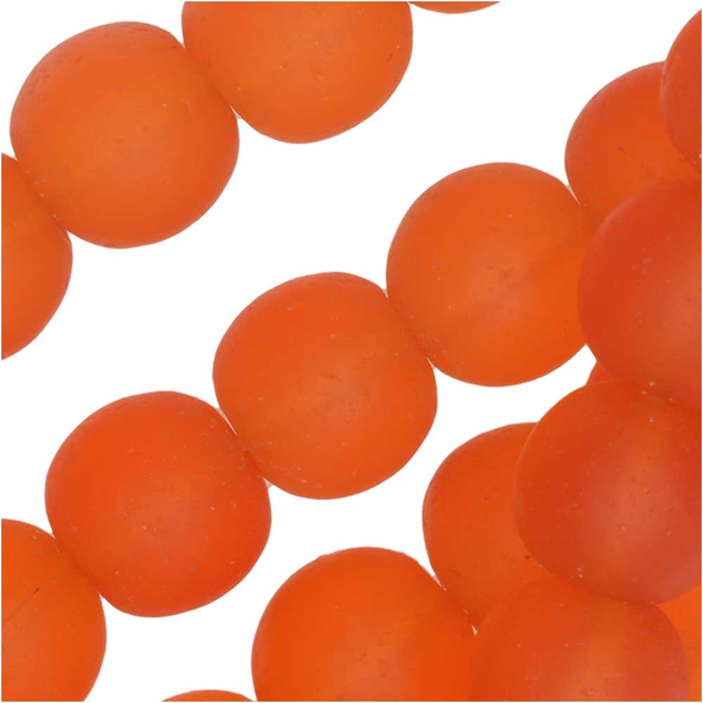 Cultured Sea Glass, Round Beads 8mm, 26 Pieces, Tangerine Orange
