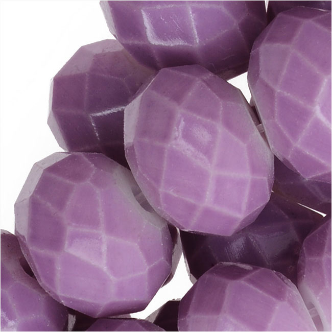 Chinese Glass Beads, Faceted Rondelles 8x6mm, Lavender Purple, 1 Strand