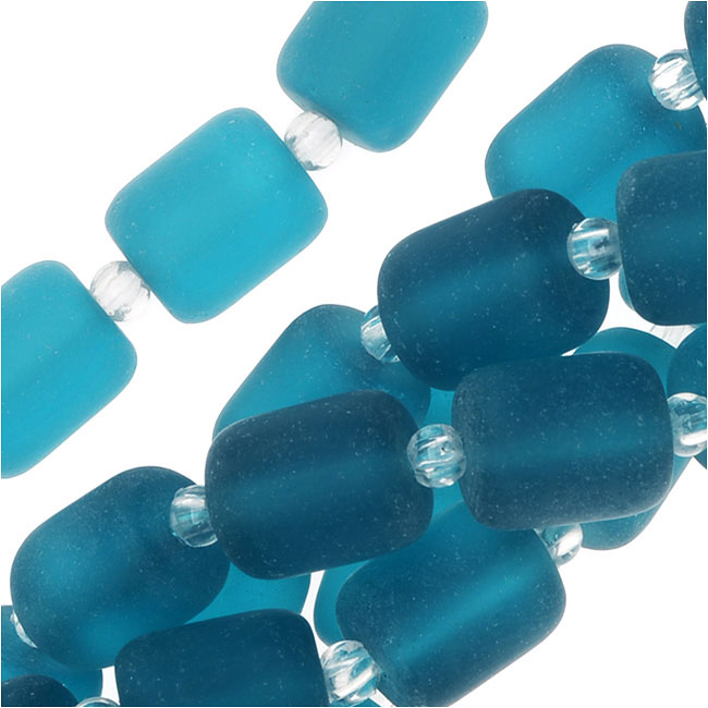 Cultured Sea Glass, Barrel Nugget Beads 10x8mm, 17 Pieces, Teal Blue