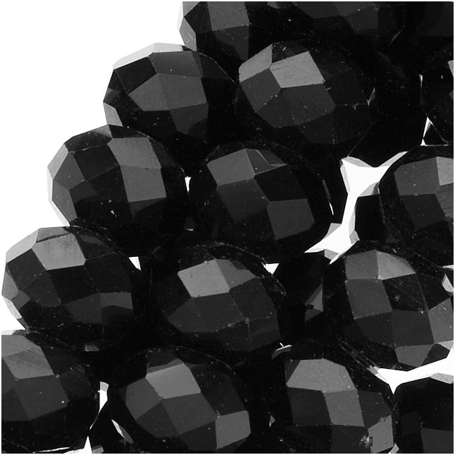 Jet Black Glass Faceted Rondelle Beads 6x8mm (16.5 Inch Strand)