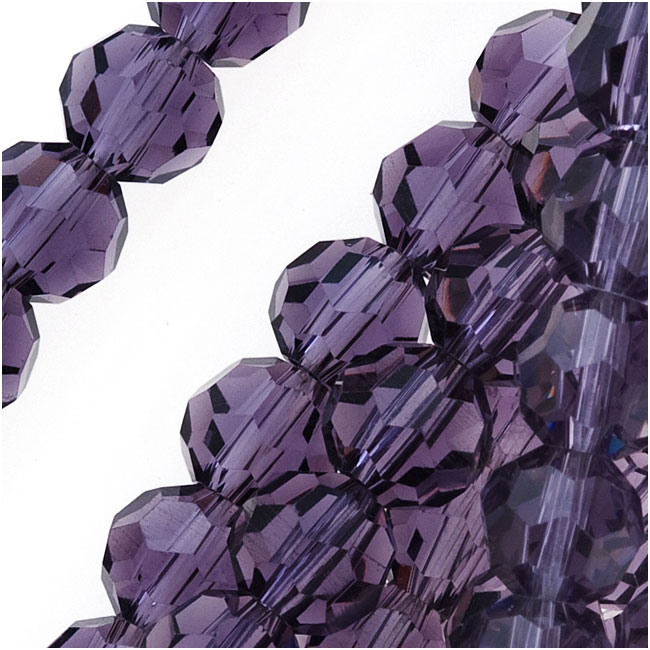 Amethyst Purple Glass Faceted Round Beads 6mm (21 Inch Strand)
