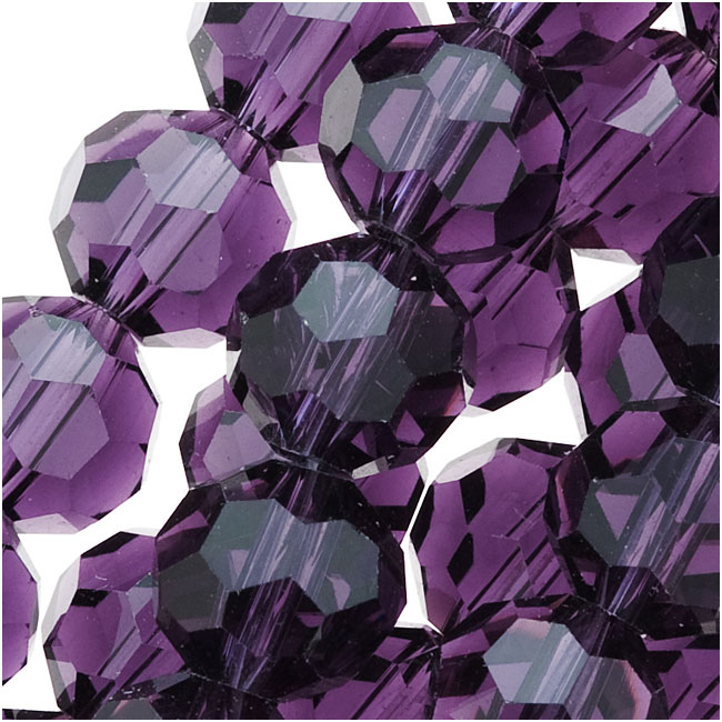 Amethyst Purple Glass Faceted Round Beads 8mm (21 Inch Strand)