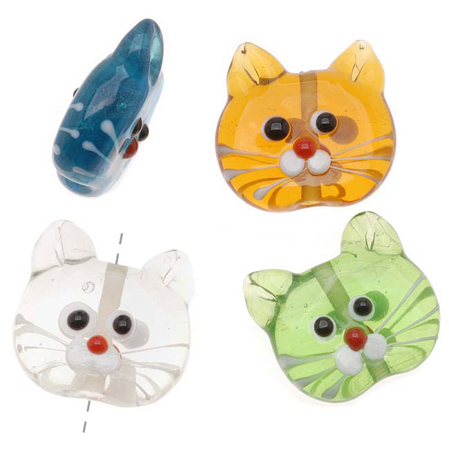 Lampwork Glass Novelty Beads, Cat Faces 21-23mm, 4 Pieces, Assorted Colors