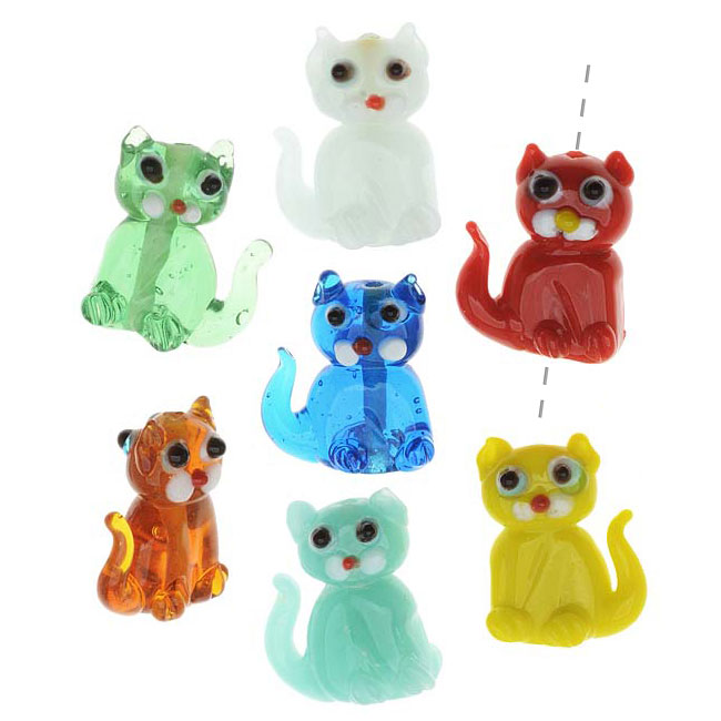 Lampwork Glass Novelty Beads, Sitting Cats 18x25mm, 4 Pieces, Assorted Colors