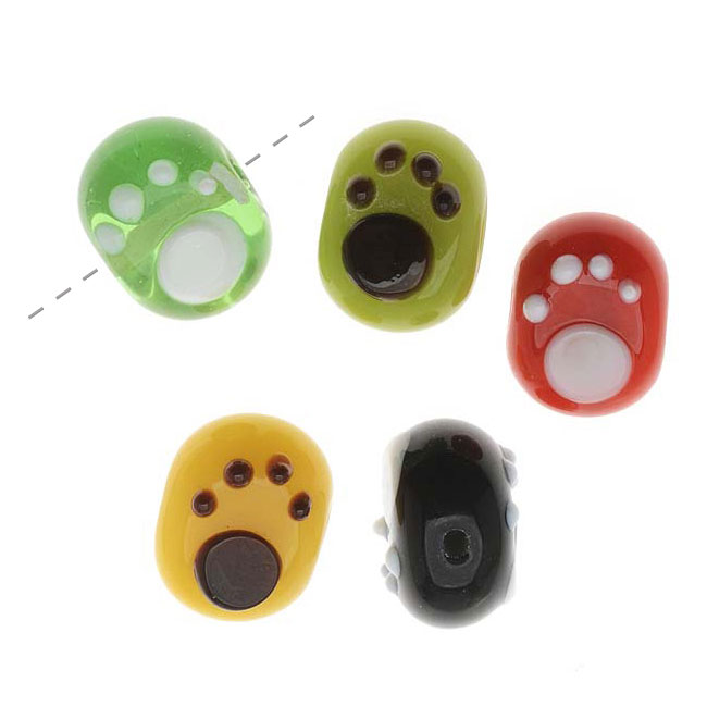 Lampwork Glass Novelty Beads, Paw Print 10x14.5mm Puff Oval, 4 Pieces, Assorted Colors