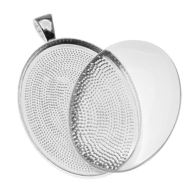 Bezel Pendant & Glass Cabochon, Oval 40x30mm, 1 Set, Silver Plated
