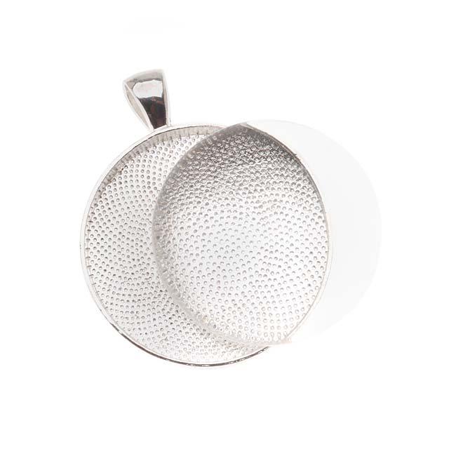 Bezel Pendant & Glass Cabochon, Round 30mm, 1 Set, Silver Plated