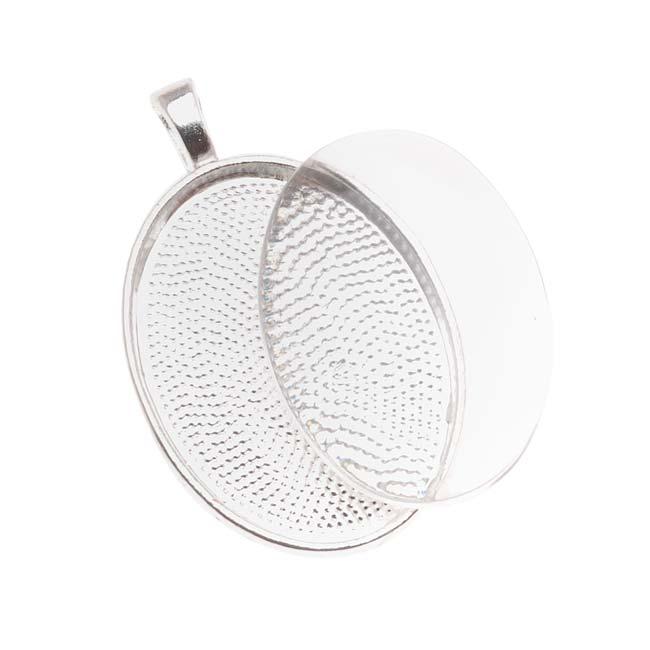 Bezel Pendant & Glass Cabochon, Oval 30x22mm, 1 Set, Silver Plated