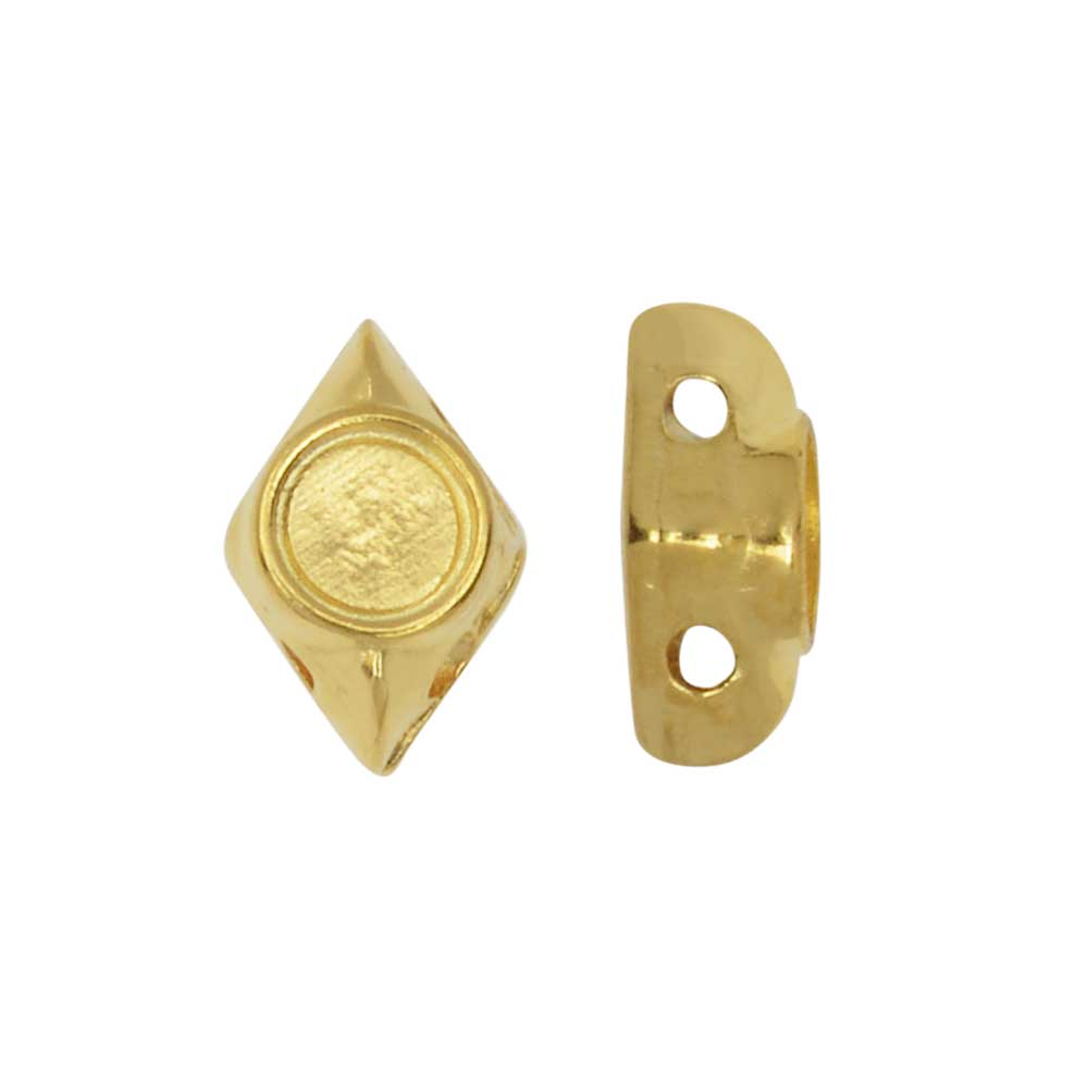 Final Sale - Cymbal Bead Substitute for GemDuo Beads, Areti,  2-Hole Diamond 7.5x5mm, 12 Pc, 24K Gold Plated