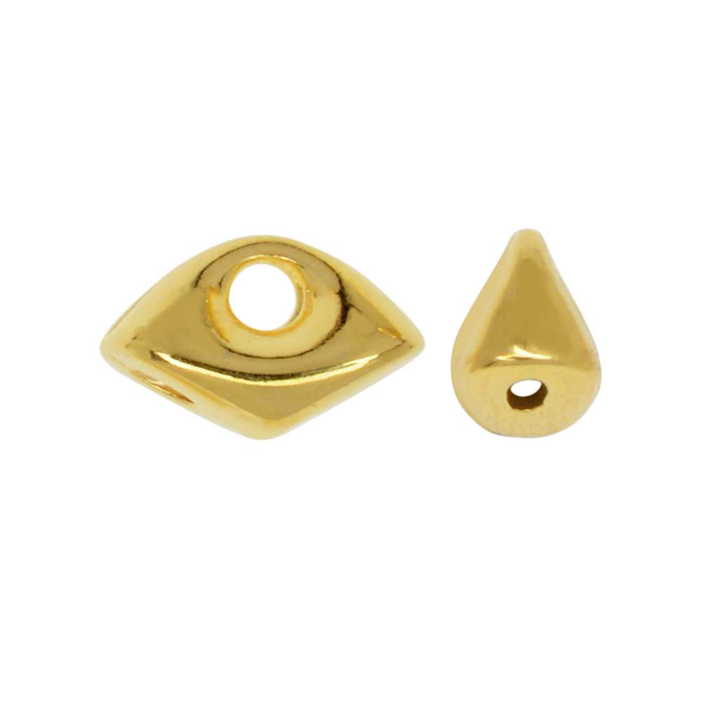 Final Sale - Cymbal Side Bead for GemDuo Beads, Tripiti, Eye Shaped 8x5mm, 12 Pieces, 24K Gold Plated