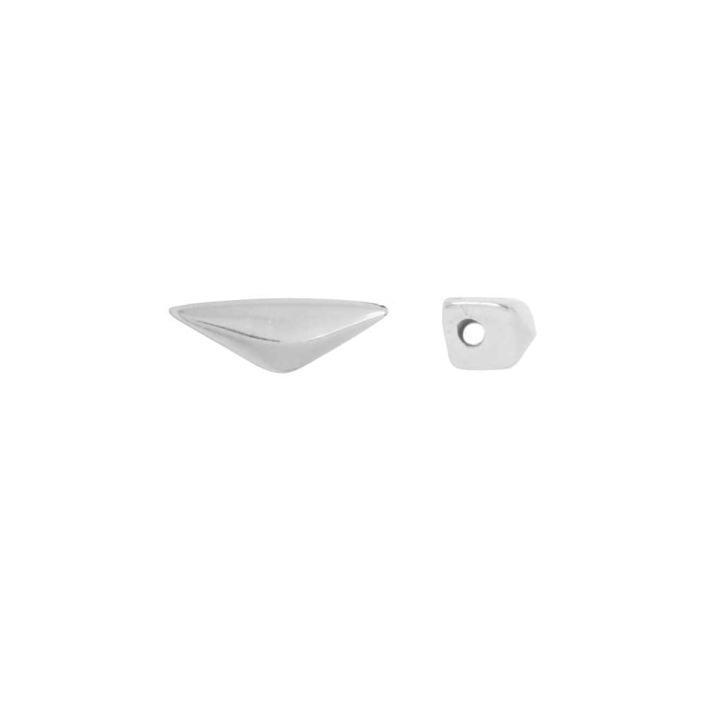 Cymbal Side Beads for GemDuo Beads, Kanvana Half Diamond 7.5x3mm, 4 Pieces, Antiqued Silver Plated
