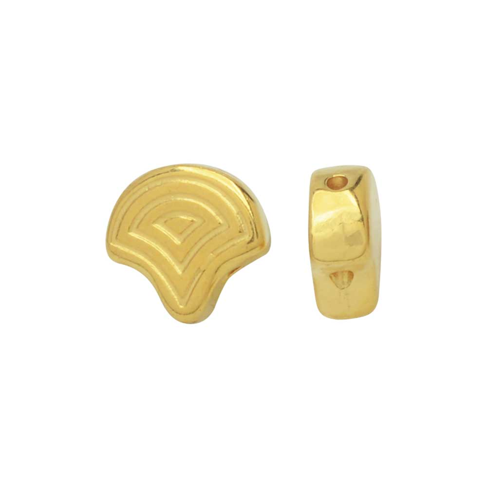 Cymbal Beads Substitute for Ginko Beads, Vlasios, 2-Hole 7.5x7mm, 4 Pieces, 24k Gold Plated