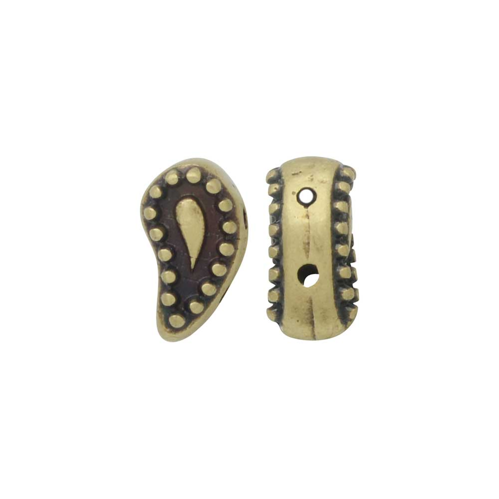 Cymbal Beads Substitute for Paisley Beads, Ayalia 2-Hole 9.5x5mm, 4 Pieces, Antiqued Brass Plated
