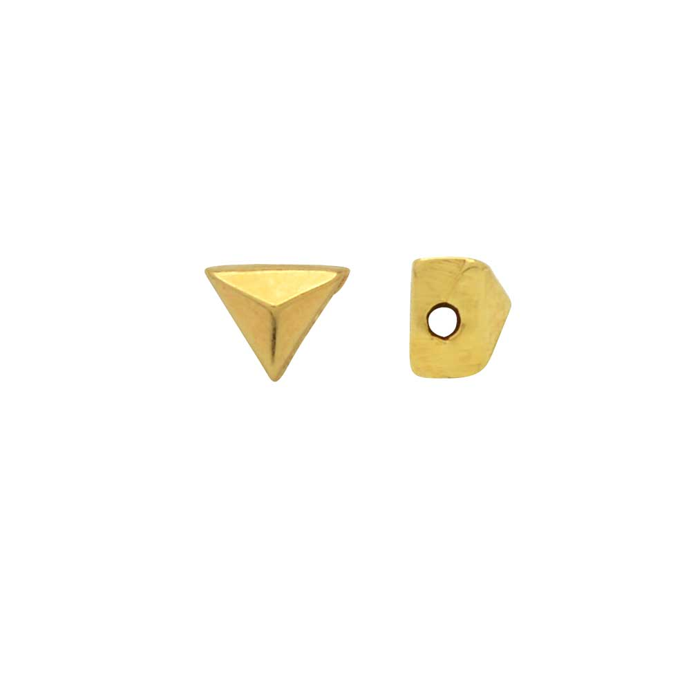 Cymbal Side Beads for GemDuo Beads, Embourios, Triangle Shaped 3x3.5mm, 4 Pieces, 24k Gold Plated