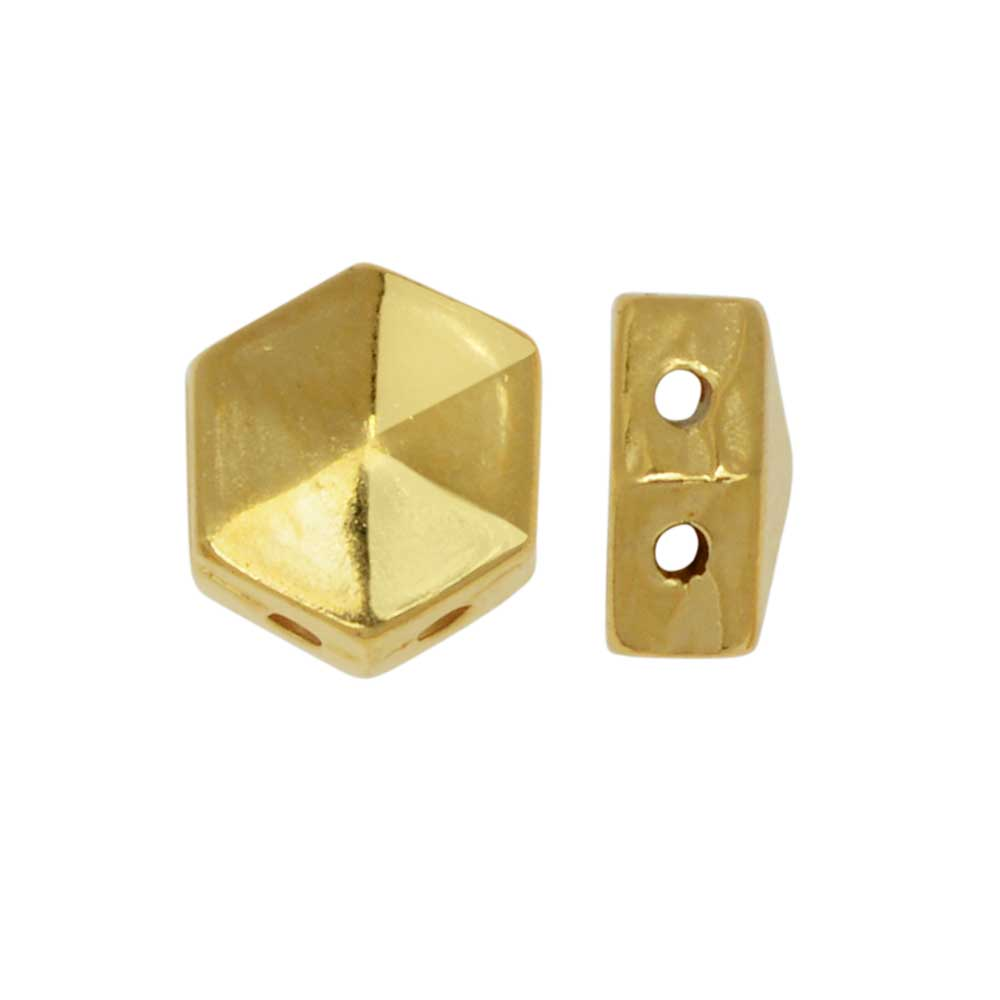 Cymbal Bead Substitute for Honeycomb Beads, Galini, 2-Hole Hexagon 6mm, 12 Pieces, 24K Gold Plated